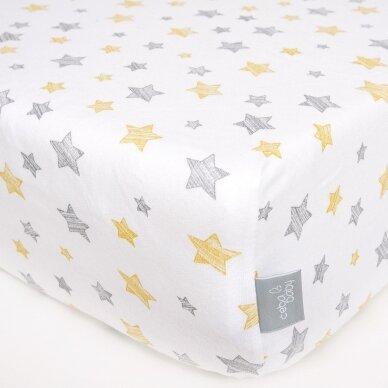 CebaBaby paklodė su guma jersey, 120*60, geltonos žvaigždės 2