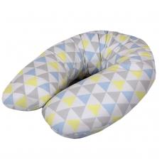 Maitinimo pagalvė dżersej, MULTI (190x35), trikampiai, geltona