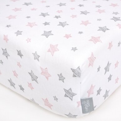 CebaBaby paklodė su guma jersey, 120*60, rožinės žvaigždės 2