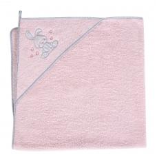 Rankšluostis su gobtuvu 100x100 rožinis, kiškis